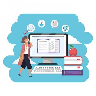 Computadora de estudiante milenaria de educación en línea