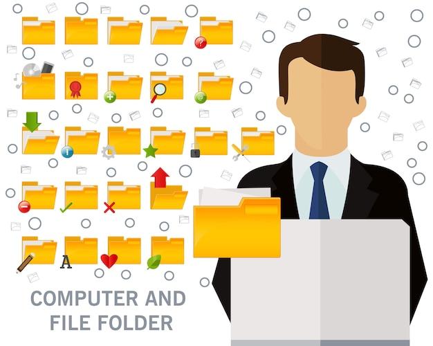 Computadora y fondo de concepto de carpeta de archivo. iconos planos