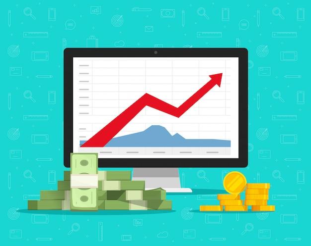 Computadora con gráficos de acciones o gráficos de comercio financiero y dibujos animados planos de dinero