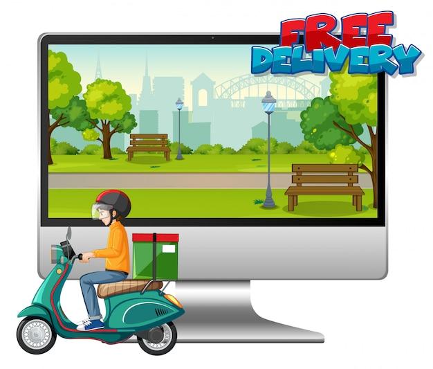 Computadora con hombre en bicicleta o mensajero y logotipo de entrega gratuita