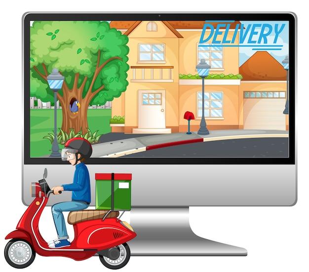 Computadora con hombre de bicicleta o mensajero y logotipo de entrega