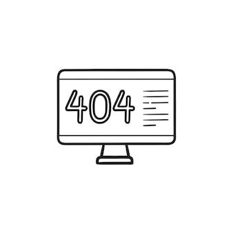 Computadora con icono de doodle de contorno dibujado de mano de página de error 404. página no encontrada, concepto de advertencia del navegador
