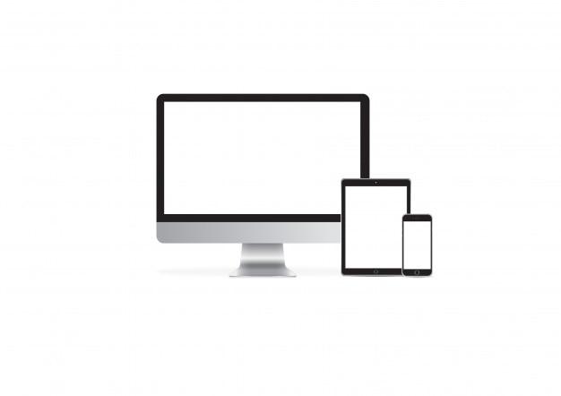 Computadora ipad iphone maqueta vector