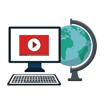 Computadora jugando un video y globo