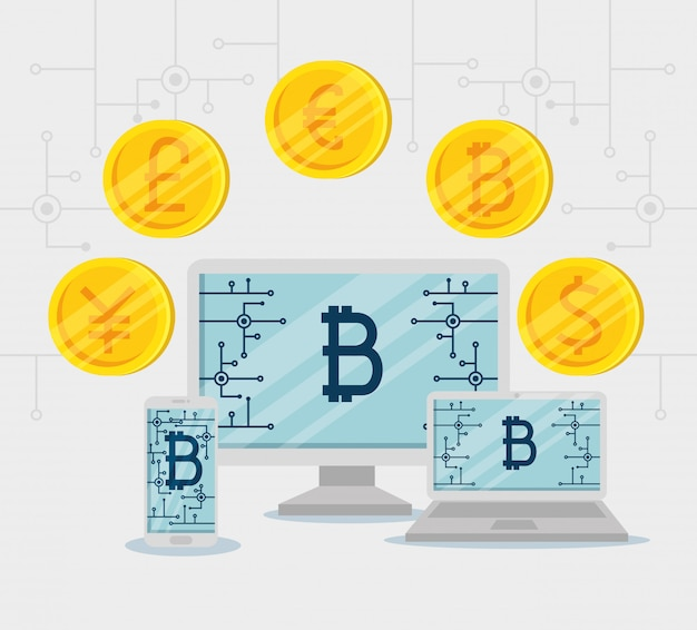 Computadora con laptop y teléfono inteligente intercambian monedas