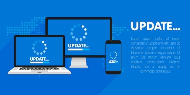 Computadora, laptop y teléfono inteligente con pantalla de proceso de actualización. instale nuevo software, soporte del sistema operativo. ilustración.