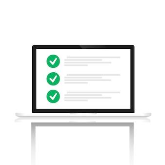 La computadora con una lista de marcas de verificación verdes se representa en blanco