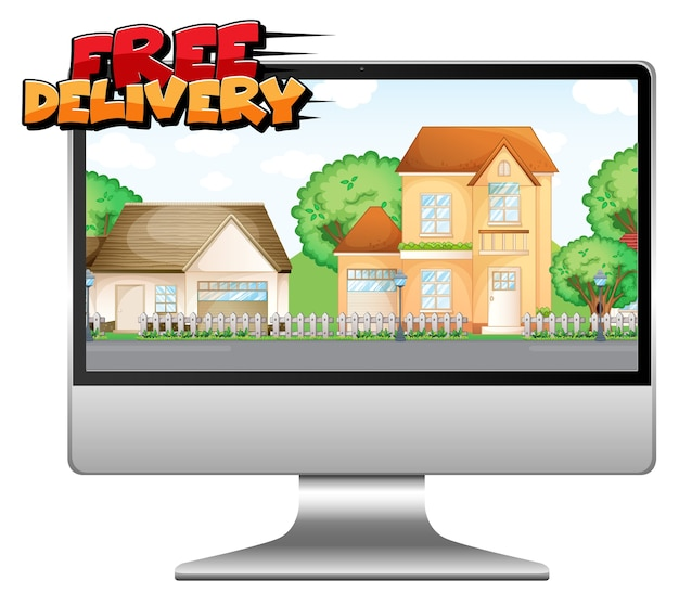 Computadora con logo de entrega gratuita