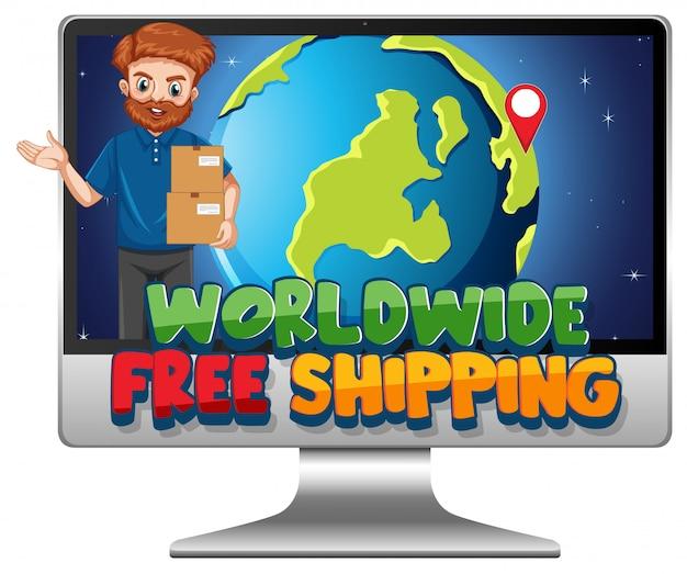 Computadora con logotipo de envío gratuito en todo el mundo