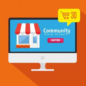 Computadora con mensaje de red social comunitaria