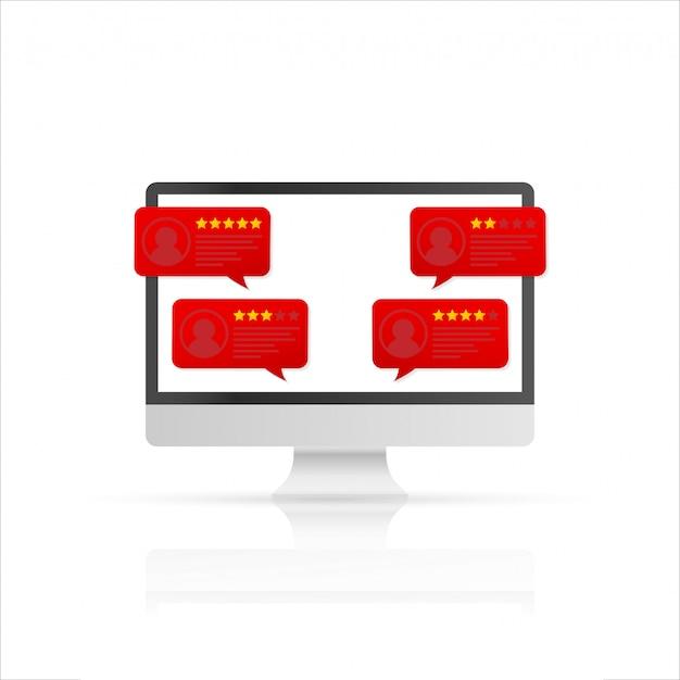 Computadora con mensajes de calificación de revisión del cliente. pantalla de pc de escritorio y reseñas en línea o testimonios de clientes