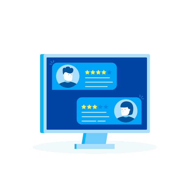 Computadora con mensajes de calificación de revisión del cliente, pantalla de pc de escritorio y revisión en línea o testimonios de clientes, concepto de experiencia o comentarios, estrellas de calificación. estilo plano moderno