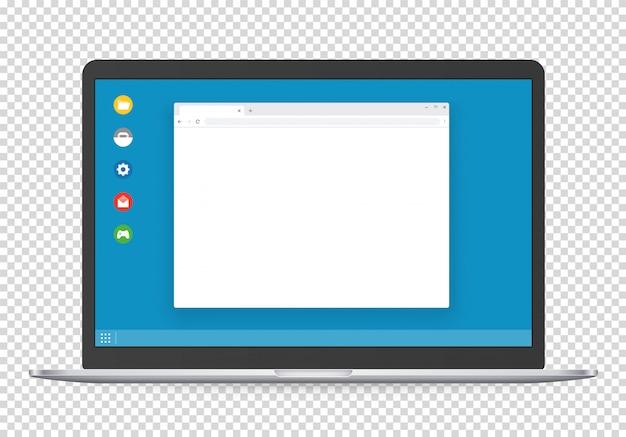 Computadora moderna con plantilla de interfaz de sistema operativo y página de navegador en blanco.