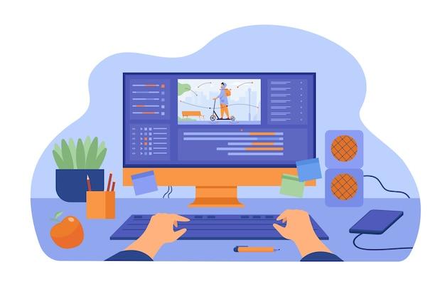 Computadora y monitor de animador gráfico creando videojuego, modelando movimiento, procesando archivo de video, usando editor profesional. ilustración de vector de diseño gráfico, arte, concepto de lugar de trabajo de diseñador