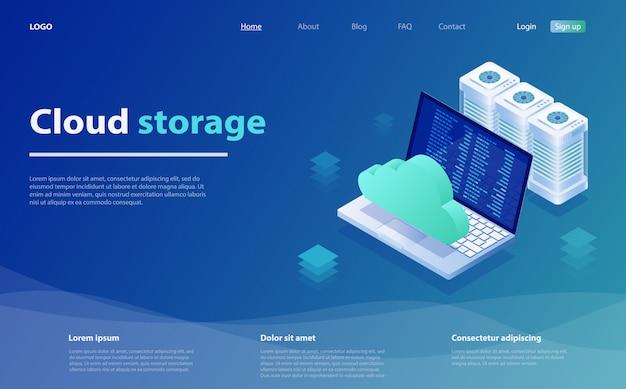Computadora en la nube o página de inicio isométrica de almacenamiento