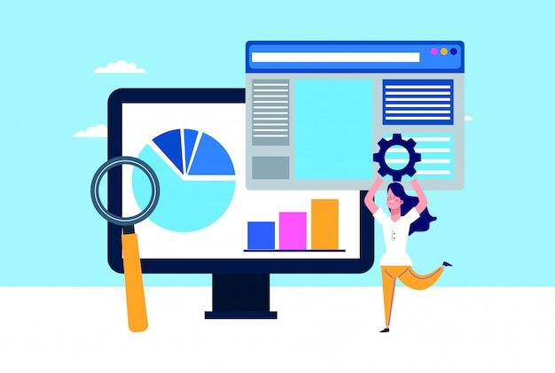 Computadora, páginas web y mujer sosteniendo una rueda dentada