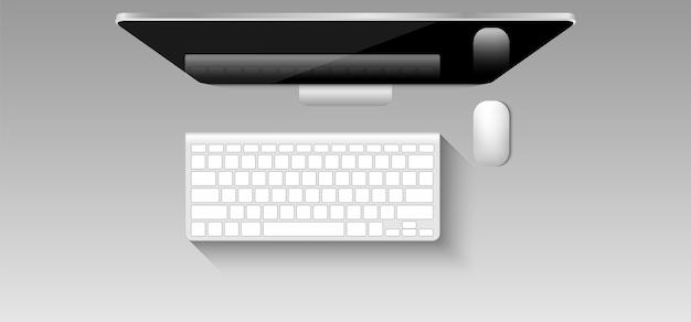Computadora pc de oficina, monitor, teclado, mouse.