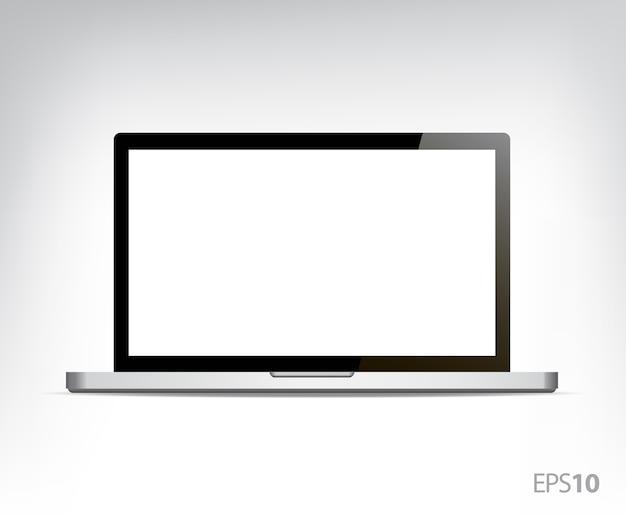 Computadora personal portátil abierta realista, computadora aislada