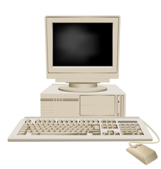 Computadora personal retro con unidad de sistema, teclado y mouse de monitor grande