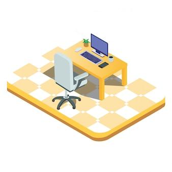Computadora portátil aislada isométrica 3d lista para trabajar
