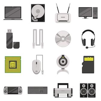 Computadora portátil y computadora con componentes y accesorios y dispositivos electrónicos.