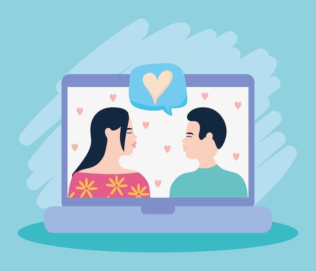 Computadora portátil con diseño de pareja