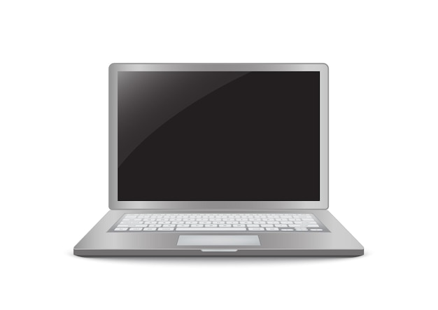 Computadora portátil con icono realista de pantalla negra en blanco para diseño de interfaz de usuario de maqueta