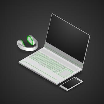 Computadora portátil para juegos, teléfono inteligente y auriculares.