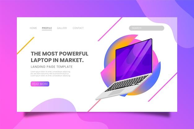 La computadora portátil más potente en la plantilla de página de destino del mercado