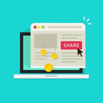 Computadora portátil plana de dibujos animados con botón de compartir y ganancias de dinero compartiendo en las redes sociales