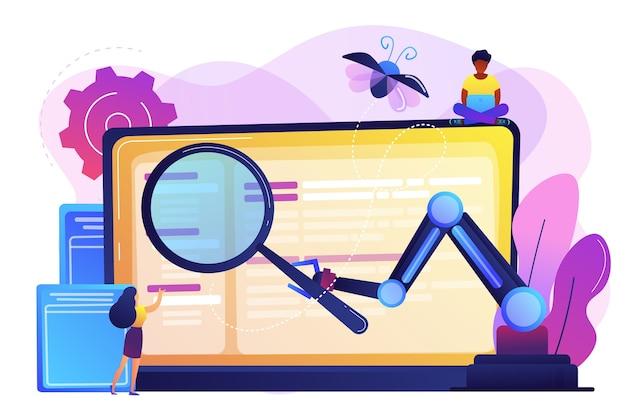 Computadora portátil y software que ayudan en el proceso de prueba, probadores de personas diminutas. prueba automatizada, prueba ejecutada automotriz, concepto de probador automático de software. ilustración aislada violeta vibrante brillante