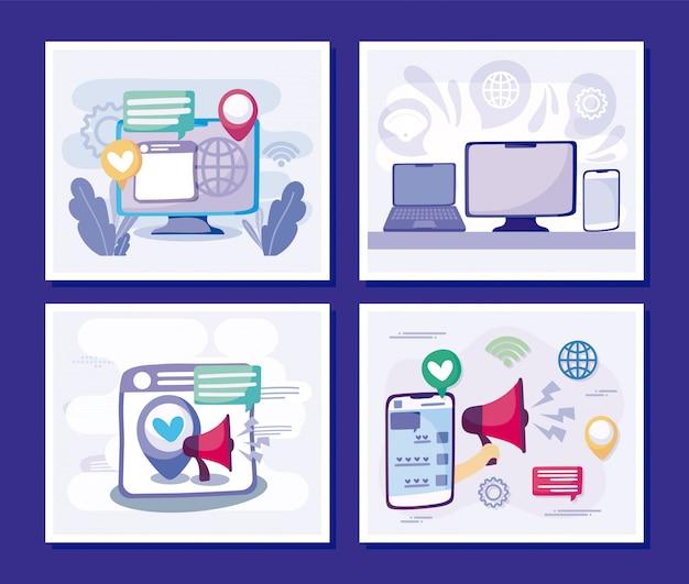 Computadora portátil y teléfono inteligente del concepto de redes sociales