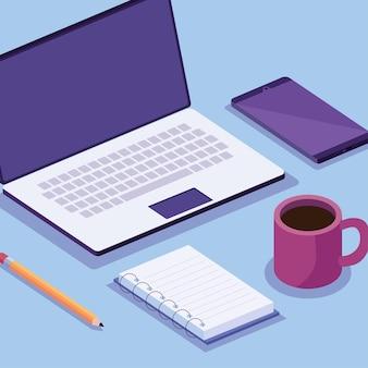 Computadora portátil y teléfono inteligente con espacio de trabajo isométrico establecer diseño de ilustración de iconos