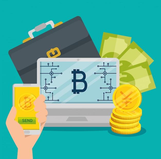 Computadora portátil y teléfono inteligente con moneda bitcoin y billetes
