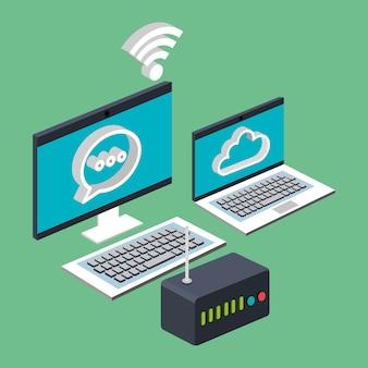 Computadora portátil wifi internet nube enrutador tecnología digital