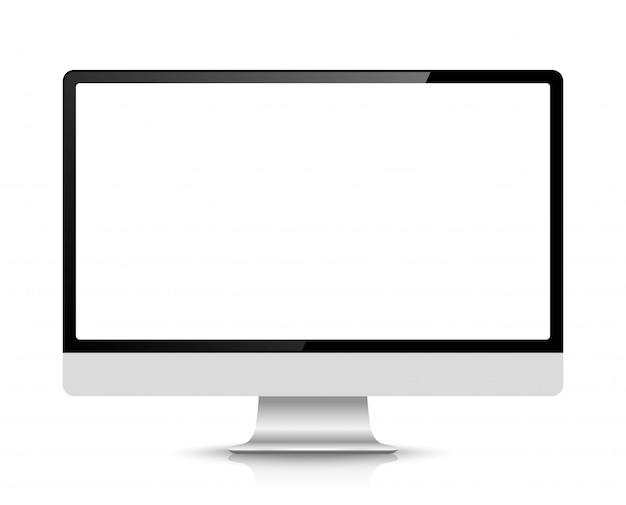 Computadora realista o monitor de pc aislado en el fondo.