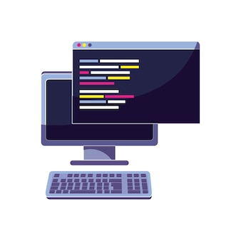 Computadora y sitio web con código de datos de programación