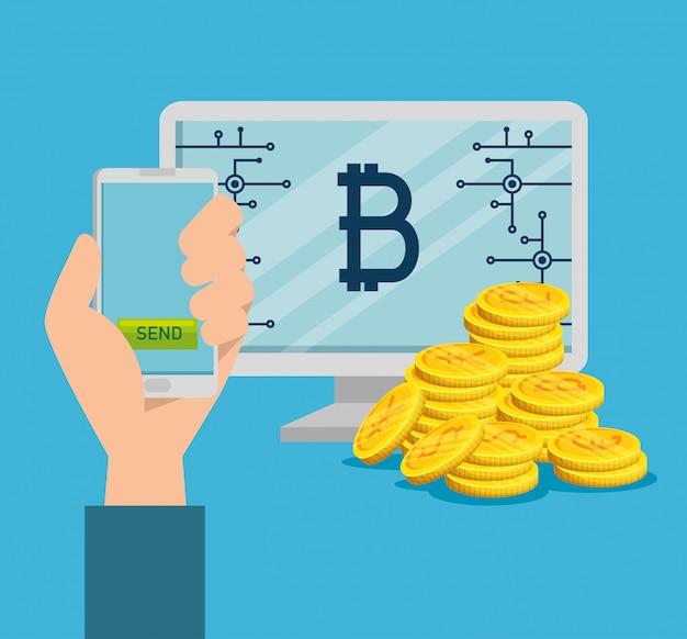 Computadora y teléfono inteligente con bitcoin