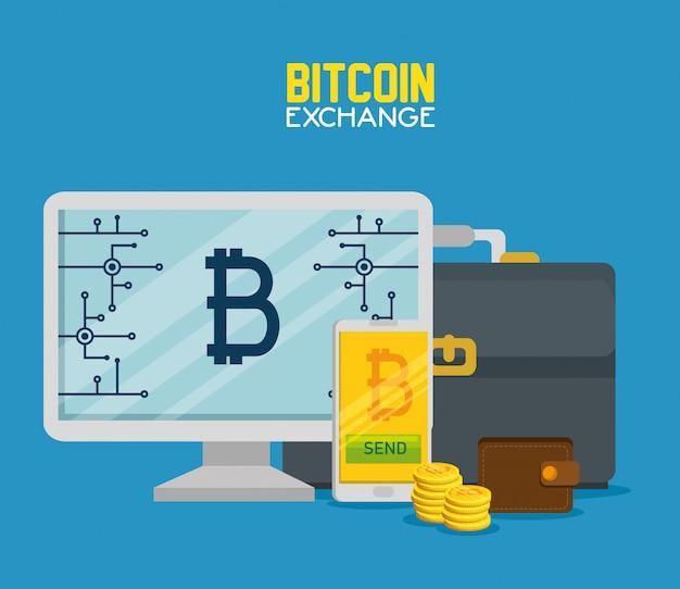 Computadora un teléfono inteligente con moneda virtual bitcoin