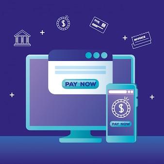 Computadora, teléfono inteligente y sitio web con el botón pagar ahora