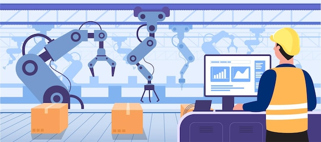 Computadora de uso humano para controlar los brazos del robot que trabajan en producción convocados en la industria de fábricas inteligentes 4 vector gratuito
