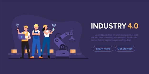 Computadora de uso humano para controlar los brazos del robot que trabajan en producción convocados en la industria de fábricas inteligentes 4