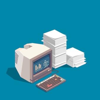 Computadora y vector de pila de papel.
