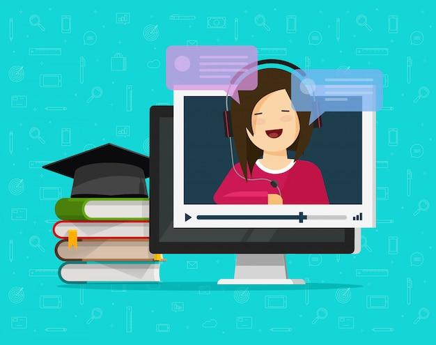 Computadora viendo video entrenamiento en línea en internet