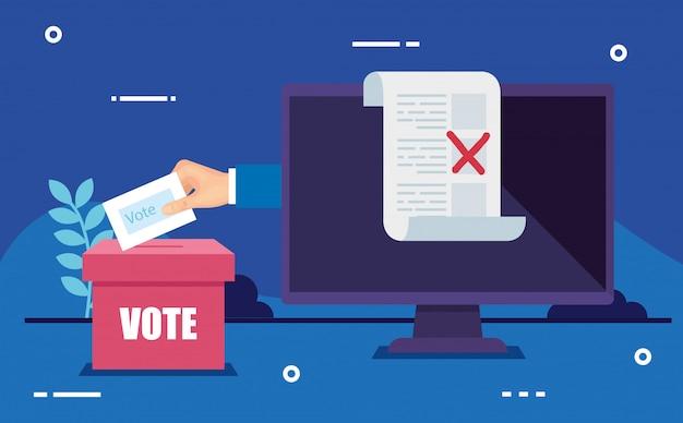 Computadora para votar en línea con mano y urna
