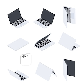 Computadoras portátiles isométricas planas. cuadernos planos. tecnologia computacional. conjunto de portátiles modernos. elementos isometricos