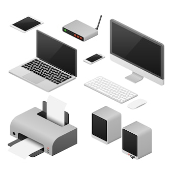 Computadoras vectoriales digitales 3d isométricas