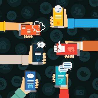 Comunicación de chat de mensajería instantánea, mano con concepto de vector de teléfonos móviles