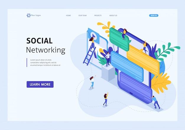 Comunicación de concepto isométrico de jóvenes en redes sociales, envío de mensajes y fotos. página de inicio de plantilla de sitio web