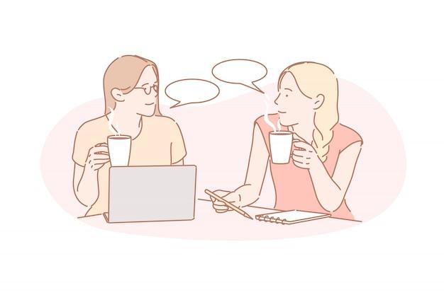 Comunicación, coworking, concepto de amistad.